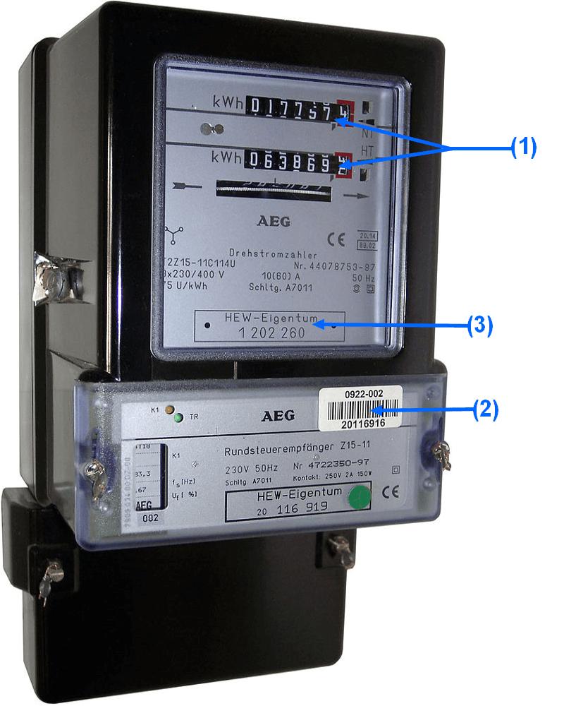 Stromzähler mit Detailangaben